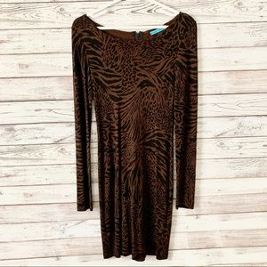 NWOT Alice + Olivia Animal Print Long Sleeve Dress